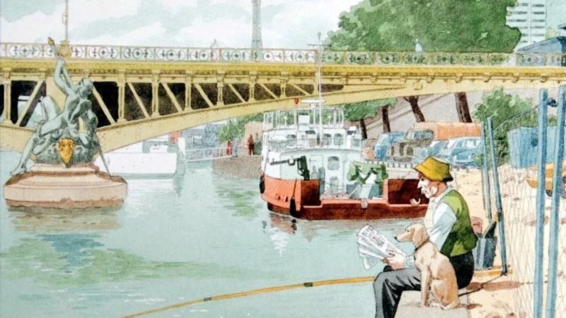 André Juillard Postcard: Az Eiffel-torony A Mirabeau-híd felől