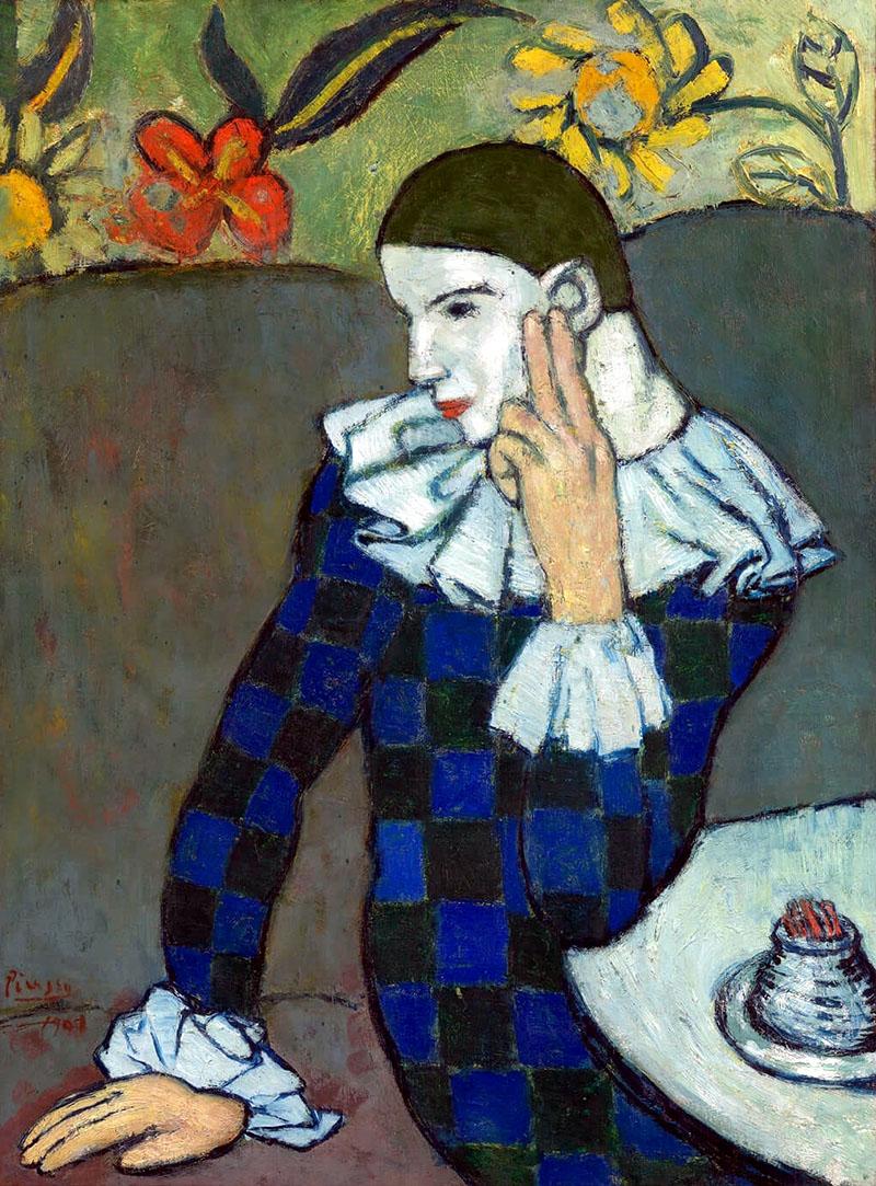 Picasso: Ülő Harlekin