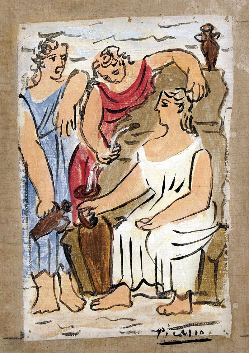 Három nő a szökőkútnál. Tanulmány