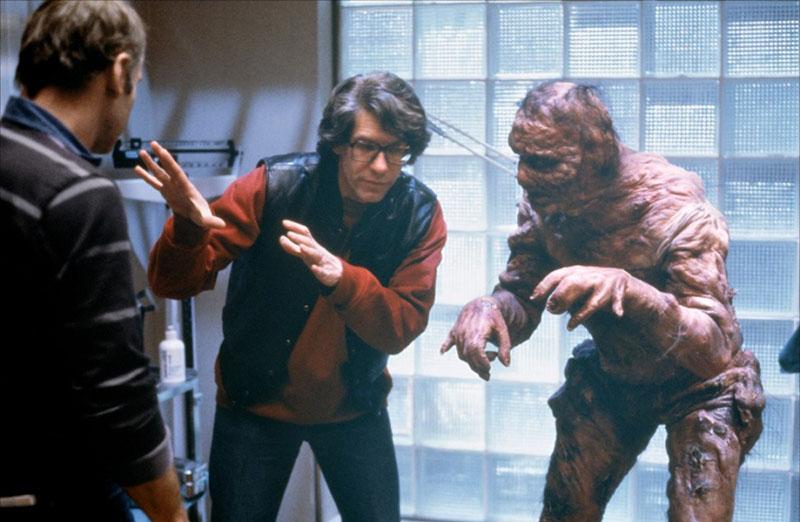 David Cronenberg és Jeff Goldblum A légy forgatásán