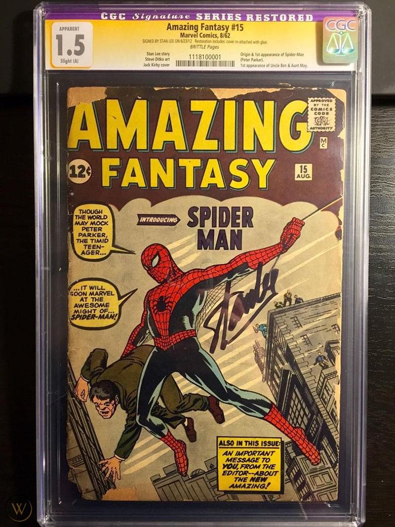 Az Amazing Fantasy utolsó lapszám, és Pókember első megjelenése Stan Lee aláírásával