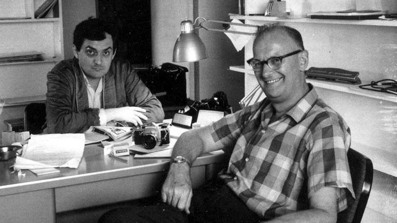 Clarke és Stanley Kubrick az 2001 Űrodüsszeia kidolgozása közben