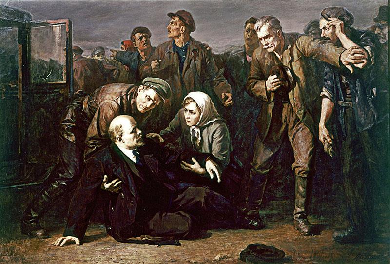 Festmény a sérült Leninről Fanni Kaplan lövései után