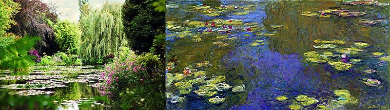 A vízililiomok tava. Fénykép és Monet festménye
