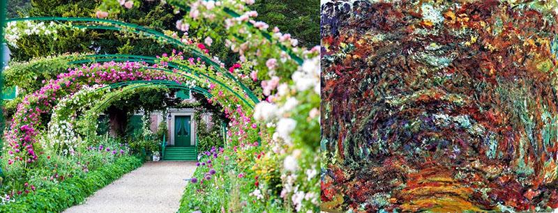 Rózsák a főbejárat előtt és Monet Rózsaösvény című festménye