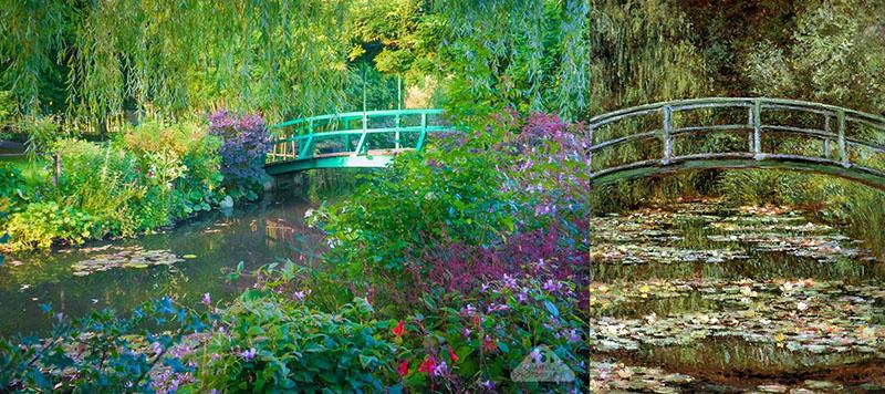 A japán híd és Monet festménye a hídról