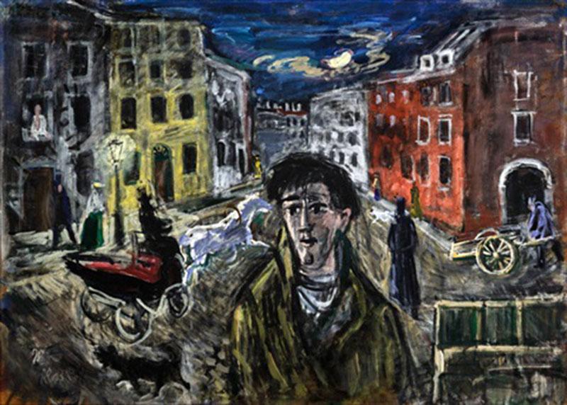Julius Herburger német festőművész Raszkolnyikov című munkája. /Forrás: artnet.com/)