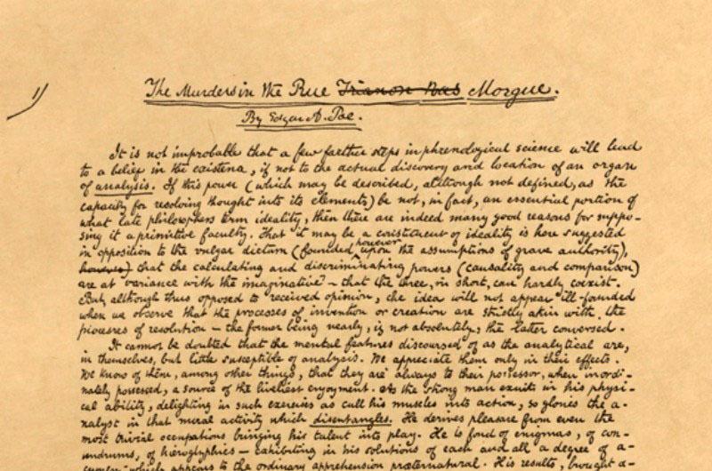 A Morgue utcai kettős gyilkosság eredeti kézirata