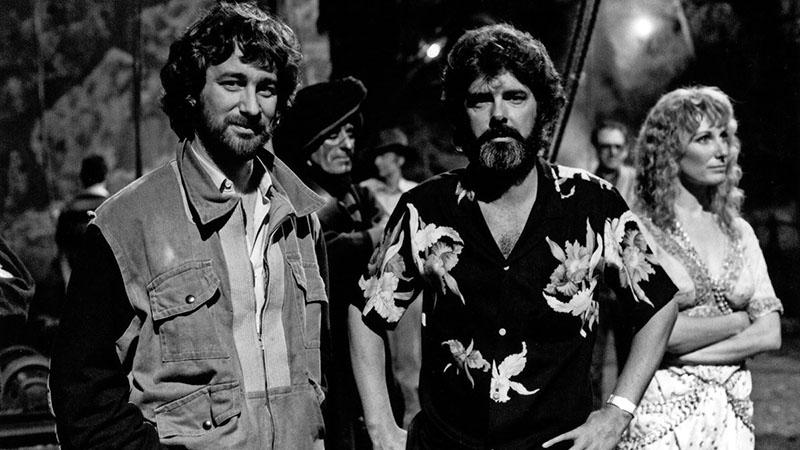 Spielberg és Lucas a Végzet temploma forgatásán