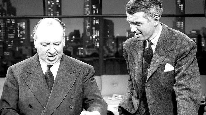 Hitchcock és kedvenc színésze, James Stewart a Kötél forgatásán