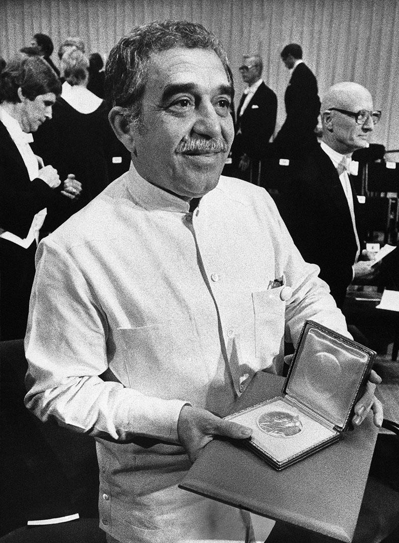 Márquez 1982-ben Stockholmban, az irodalmi Nobel-díjjal