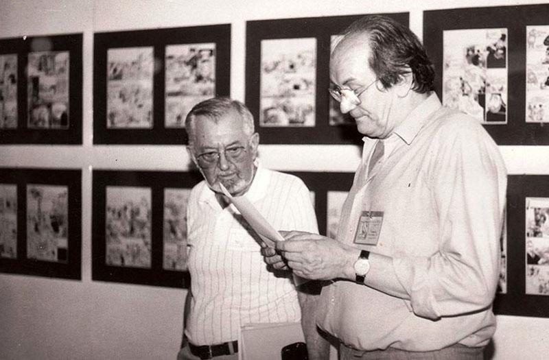 Kuczka Péter Zórád Ernő képregényrajzolóval egyeztet 1986-ban