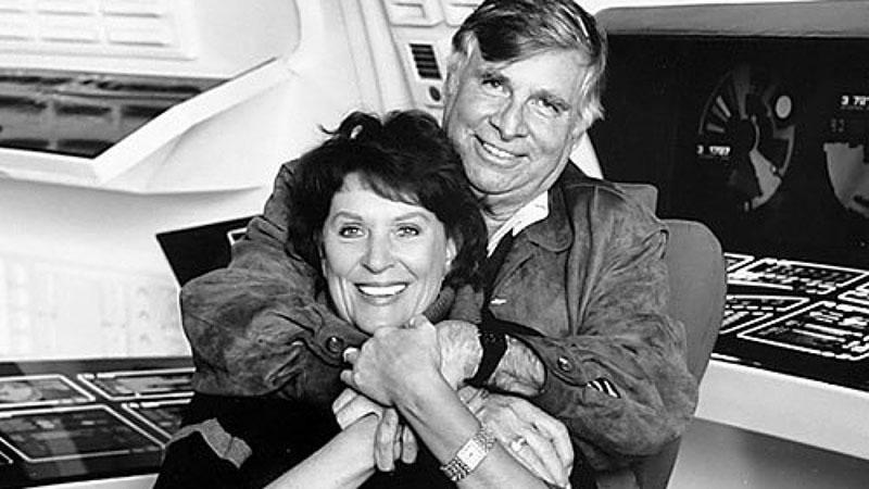 Gene Roddenberry feleségével, a legendás Lwaxana Troit alakító Majellel