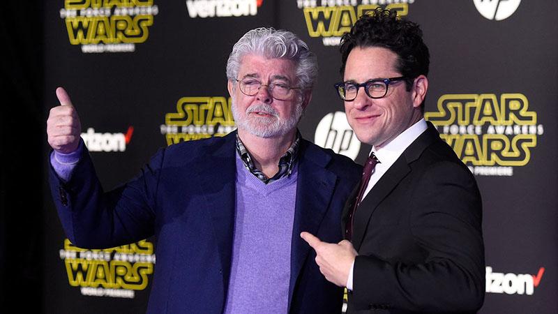 George Lucas és J. J. Abrams Az ébredő erő premierjén