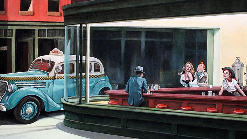 Tin tin Edward Hopper Éjjeli baglyok című festményén