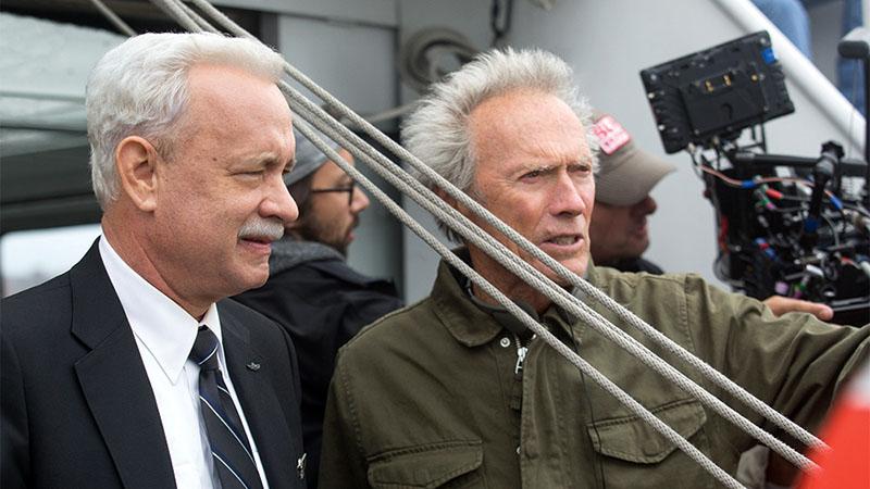 Tom Hanks és Clint Eastwood a Sully - Csoda a Hudson-folyón forgatásán