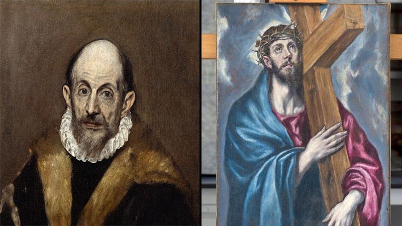 Balra a művész portréja, jobbra az ismeretlen Krisztus-festmény