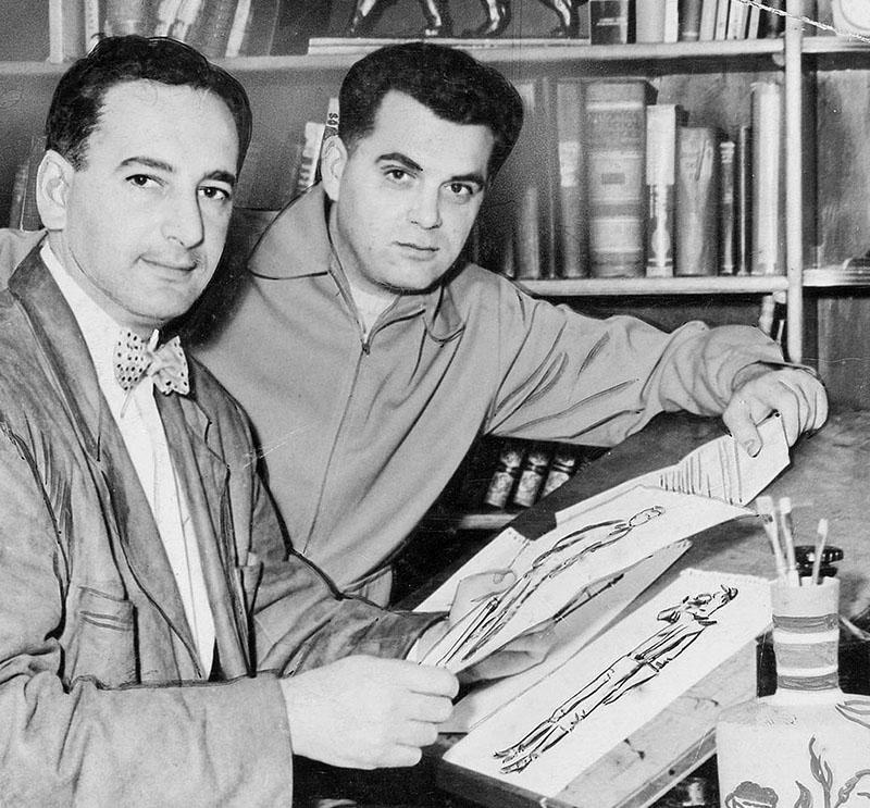 Kirby (jobbra) és Joe Simon a pályájuk elején még a Timely Comics-nál