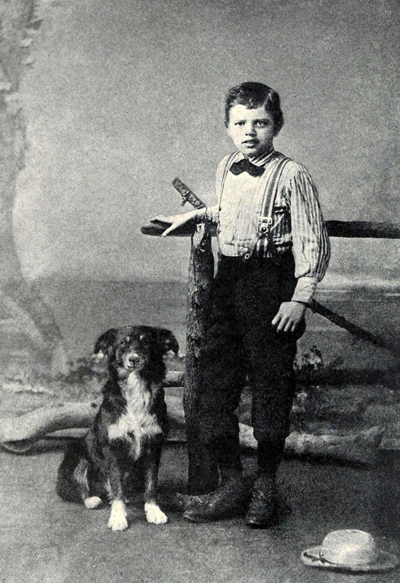 Jack London gyerekként Bollo nevű kutyájával
