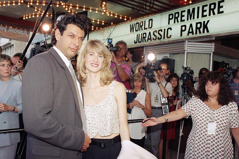 Jeff Goldblum és Laura Dern a film 1993-as premierjén
