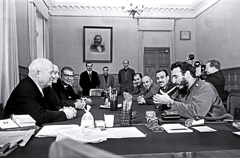 Hruscsov főtitkár és Fidel Castro tárgyalása