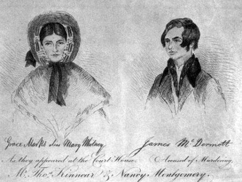 """A """"gyilkosnő"""" Grace Marks, és vőlegénye James McDermott, ahogyan a tárgyalásukon megjelentek. /Forrás: goodreads.com/"""