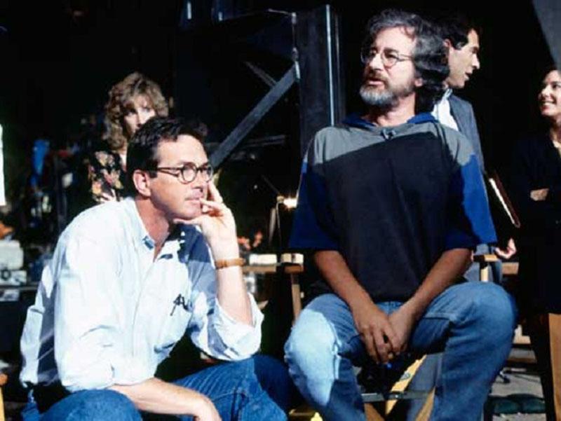 Crichton és Spielberg a Jurassic Park forgatásán