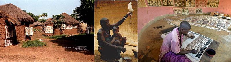 Fakaha a helyi lakosok által készített képekkel, vászonszövő nő és egy festő