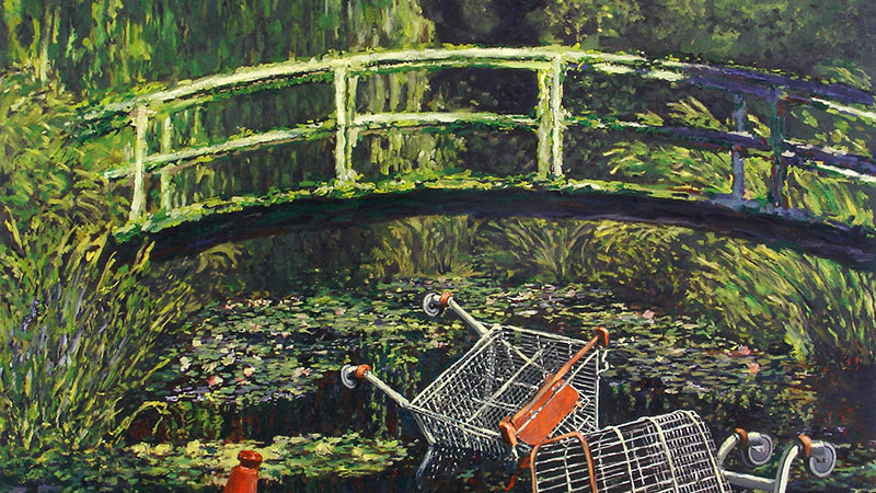 Banksy 2005-ben festett az újraértelmezett képet