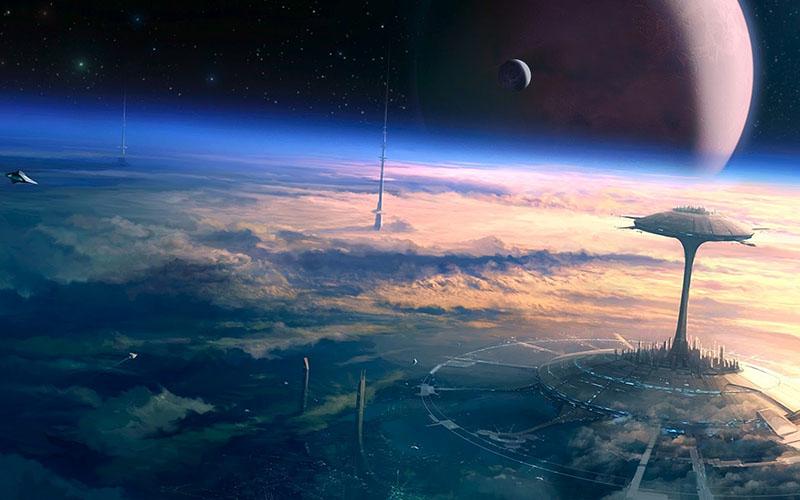 Fantáziarajz működő űrliftek hálózatáról