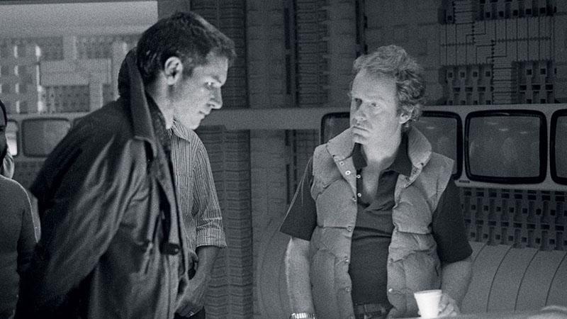 Harrison Ford és Ridley Scott a forgatáson